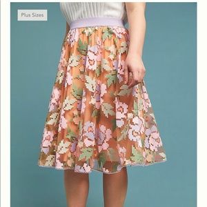Anthropologie Plus Pixelated Tulle Midi Skirt